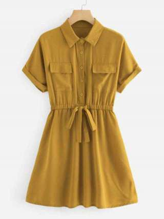 Mustard Yellow Important Fabrics Half Sleeve With Two Pockets Less Drawstring Skirt Dresses