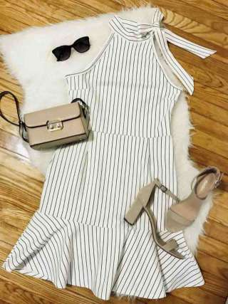 White Cotton Round Neck With Standard Coler Sleeveless Striped Designer Dresses