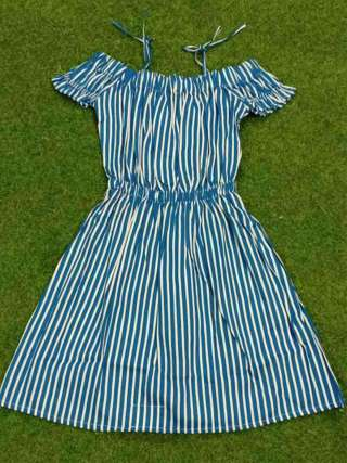 White And Blue Cotton Crop Neck With Elastic Crop Sleeves Striped Designer Dresses