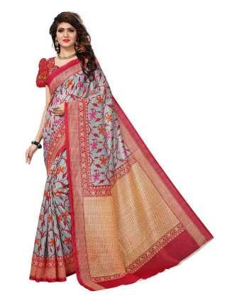 Grey Bhagalpuri Silk Printed Saree With Unstitched Blouse - S181114