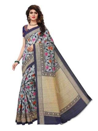 Grey-Blue Bhagalpuri Silk Printed Saree With Unstitched Blouse - S181115