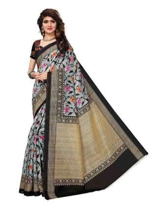 Grey-Black Bhagalpuri Silk Printed Saree With Unstitched Blouse - S181116