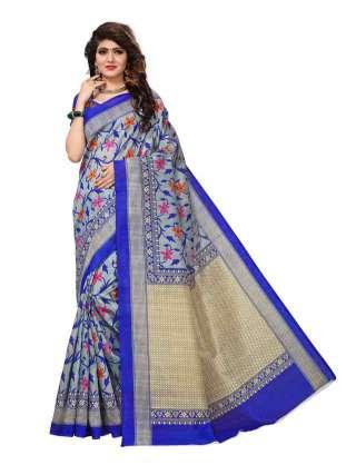 Grey-Royal Blue Bhagalpuri Silk Printed Saree With Unstitched Blouse - S181117