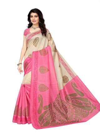 Beige-Pink Bhagalpuri Silk Printed Saree With Unstitched Blouse - S181164