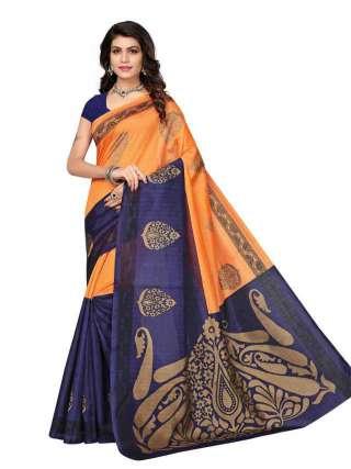 Orange-Blue Bhagalpuri Silk Printed Saree With Unstitched Blouse - S181165