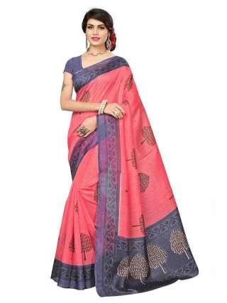 Peach Bhagalpuri Silk Printed Saree With Unstitched Blouse - S181169