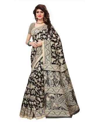 Black Bhagalpuri Silk Printed Saree With Unstitched Blouse - S181170