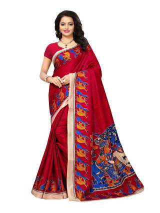 Red Colored Khadi Silk Print Saree With Unstitched Blouse Piece S181786