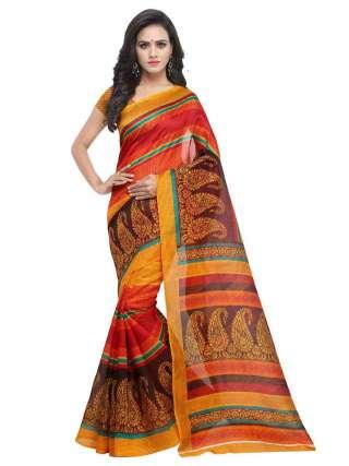 Bhagalpuri Silk Multicolor Printed Saree With Unstitched Blouse - S181852