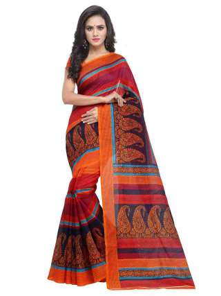 Bhagalpuri Silk Multicolored Printed Saree With Unstitched Blouse - S181853