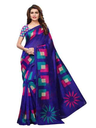 Blue Colored Bhagalpuri Silk Printed Saree With Unstitched Blouse - S182014