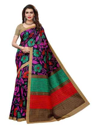 Multicolored Bhagalpuri Silk Fabric Printed Saree With Unstitched Blouse - S182113