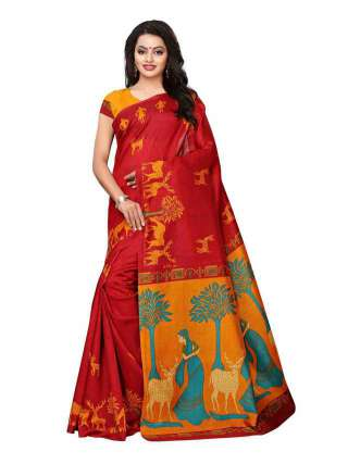 Red Colored Khadi Silk Print Saree With Unstitched Blouse Piece S182381