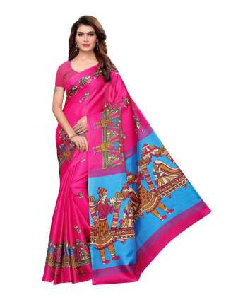 Pink Colored Khadi Silk Print Saree With Unstitched Blouse Piece S182770