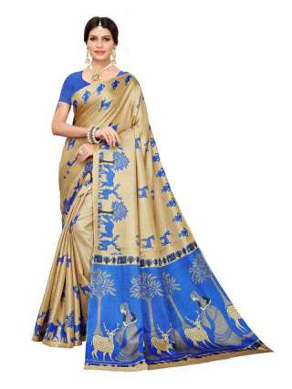 Beige N Blue Colored Khadi Silk Print Saree With Unstitched Blouse Piece S183239