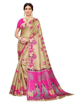 Beige N Pink Colored Khadi Silk Print Saree With Unstitched Blouse Piece S183240