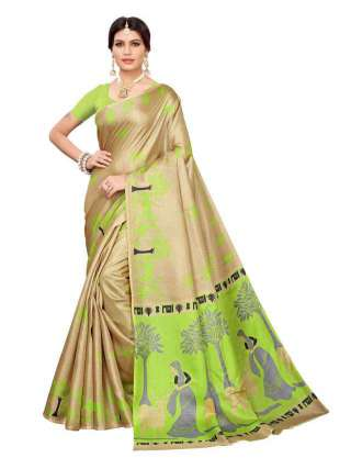 Beige N Green Colored Khadi Silk Print Saree With Unstitched Blouse Piece S183241