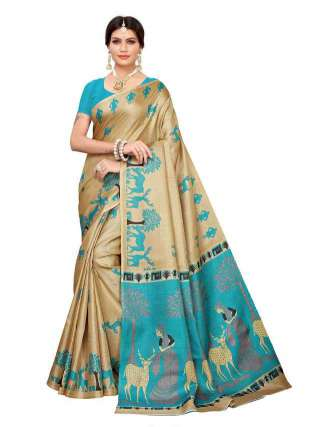 Beige N Cyan Colored Khadi Silk Print Saree With Unstitched Blouse Piece S183242