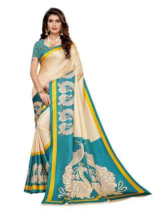 Off White N Cyan Colored Khadi Silk Print Saree With Unstitched Blouse Piece S183507