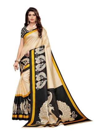 Off White N Black Colored Khadi Silk Print Saree With Unstitched Blouse Piece S183508