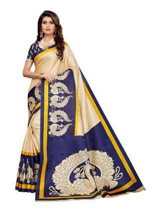 Off White N Blue Colored Khadi Silk Print Saree With Unstitched Blouse Piece S183509