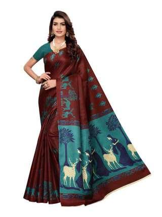 Coffee Khadi Silk Print Saree With Unstitched Blouse Piece S185033