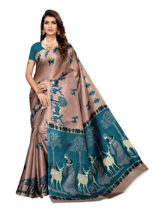Dark Beige Khadi Silk Print Saree With Unstitched Blouse Piece S185034