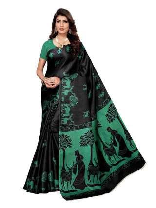 Black Khadi Silk Print Saree With Unstitched Blouse Piece S185036