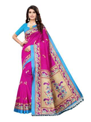 Pink Colored Casual Wear Peacock Printed Bordered Zoya Silk Saree -  S185117