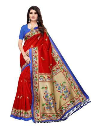 Red Colored Casual Wear Peacock Printed Bordered Zoya Silk Saree -  S185119