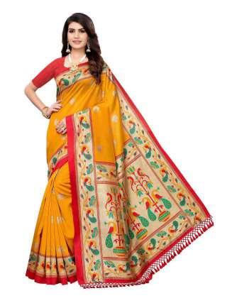Yellow Colored Casual Wear Peacock Printed Bordered Zoya Silk Saree -  S185121