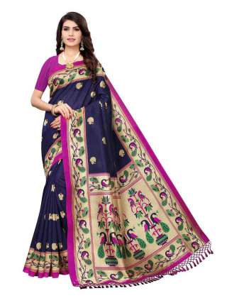 Navy Blue Colored Casual Wear Peacock Printed Bordered Zoya Silk Saree -  S185122