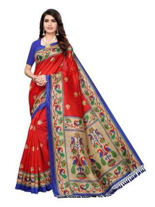 Red Colored Casual Wear Peacock Printed Bordered Zoya Silk Saree -  S185123