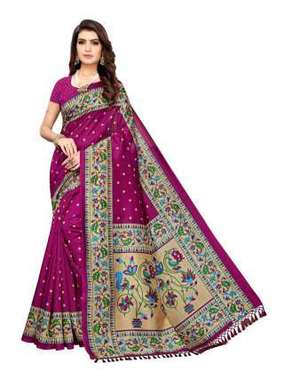 Magenta Colored Casual Wear Peacock Printed Bordered Zoya Silk Saree -  S185180