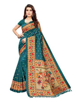 Rama Green Colored Casual Wear Peacock Printed Bordered Zoya Silk Saree -  S185181