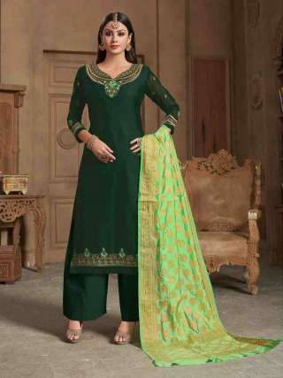 Bottle Green Satin Georgette Top With Santoon Bottom Traditional Dress Material