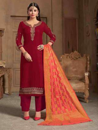 Maroon Satin Georgette Top With Santoon Bottom Traditional Dress Material