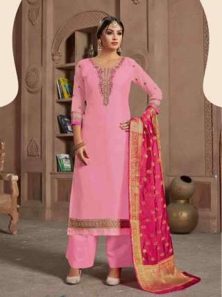 Pink Satin Georgette Top With Santoon Bottom Traditional Dress Material