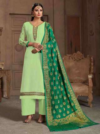 Pista Green Satin Georgette Top With Santoon Bottom Traditional Dress Material