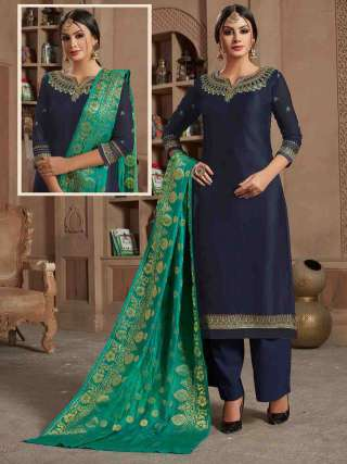 Navy Blue Satin Georgette Top With Santoon Bottom Traditional Dress Material