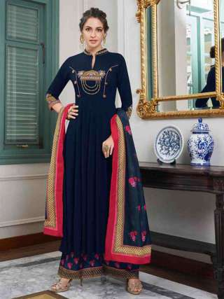 Navy Blue Pure Muslin Super Embroidery Readymade Palazzo Suit