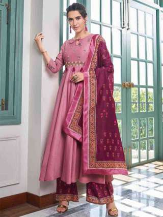 Pink Pure Muslin Super Embroidery Readymade Palazzo Suit