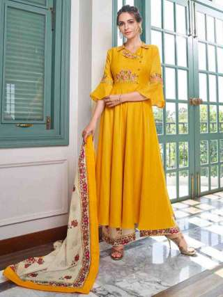 Yellow Pure Muslin Super Embroidery Readymade Palazzo Suit