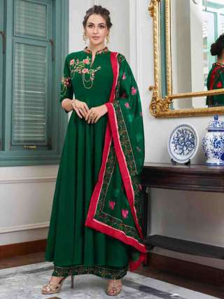 Green Pure Muslin Super Embroidery Readymade Palazzo Suit