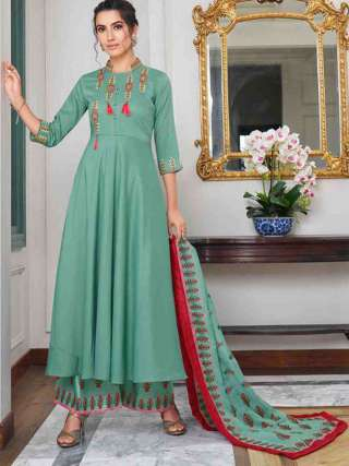 Aqua Green Pure Muslin Super Embroidery Readymade Palazzo Suit