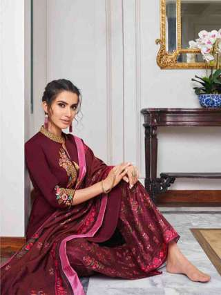 Maroon Pure Muslin Super Embroidery Readymade Palazzo Suit