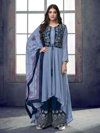 Demanding Blue Colored Partywear Embroidered Pure Muslin Palazzo Suit