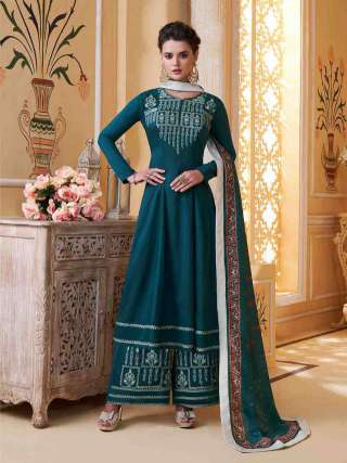 Morpich Blue Muslin With Heavy Embroidery Inner Stitched Top With Heavy Dull Santoon Stitched Bottom