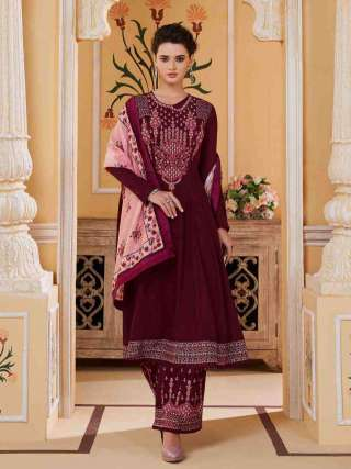Maroon Colored Muslin With Heavy Embroidery Inner Stitched Top With Heavy Dull Santoon Stitched Bottom