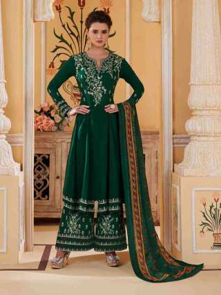 Green Colored Muslin With Heavy Embroidery Inner Stitched Top With Heavy Dull Santoon Stitched Bottom